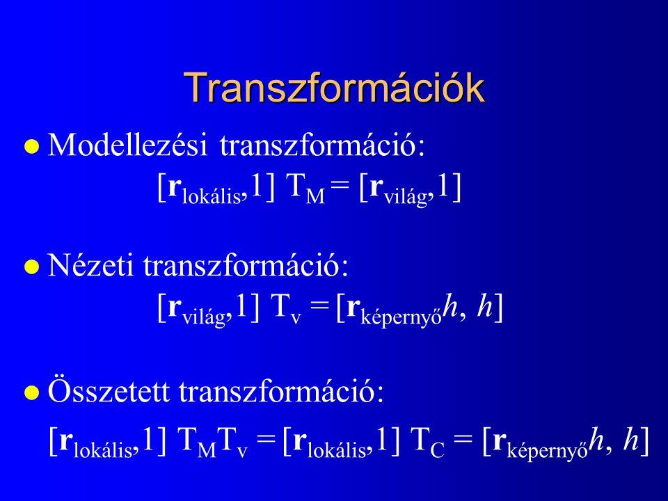 Transzformációk Modellezési transzformáció: [rlokális,1] TM = [rvilág,1] Nézeti transzformáció: [rvilág,1] Tv = [rképernyőh, h]